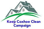 Keep Coxhoe Clean Campaign logo featuring houses, green grass an the words Keep Coxhoe Clean Campaign