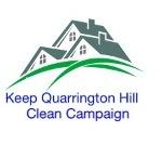 Keep Quarrington Hill Campaign logo with houses green grass and the words Keep Quarrington Hill Clean Campaign