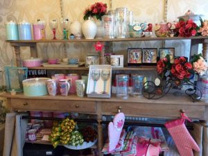 Photograph showing Opal gift shelves inside the shop