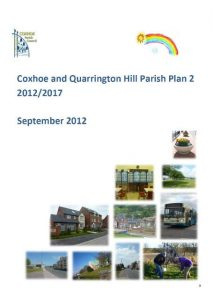 Photograph of the front page of Parish Plan 2 docment. It features its title, approval date of 2012 and 10 individual photographs of scenes in our villages