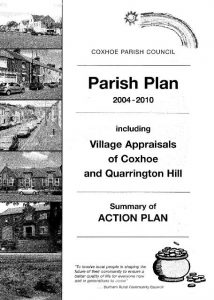 Photograph of the front page of the original Parish Plan document which included Village Appraisals for Coxhoe and Quarrington Hill and a summary action plan.