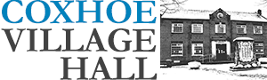 Photograph of Coxhoe Village hall logo. It inclede the words Coxhoe Village Hall and photograph of the actual building