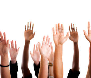Photograph showing hands up for Zumba