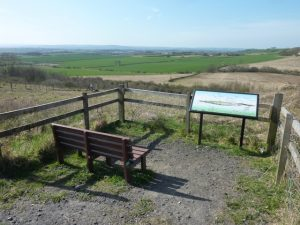 Photograph showing viewing point on the Limestone LinX walk near Quarrington Hill. Photograph includes a seat and an interpretation board