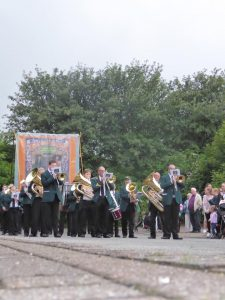 Photograph of marching band taken at low level