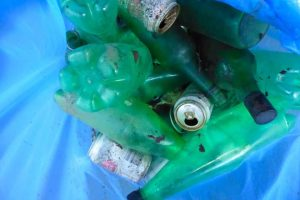 Photograph of collected plastic bottles, there is more than ten