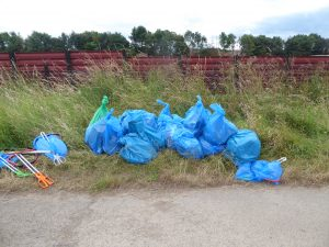 Photograph of volunteer litter bags collected