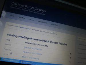 Photograph of website screenshot