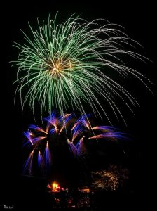 Image of fireworks going off green and blue