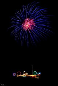 Image of fireworks going off like a flower