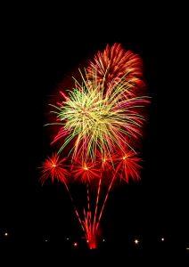 Image of fireworks going off multiple burst