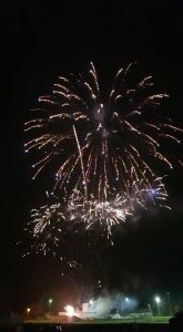 Image of fireworks going off dotted lights