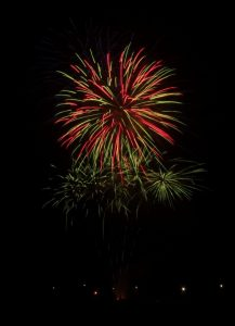 Image of fireworks going off feint colours