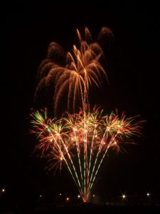 Image of fireworks going off like a bunch of flowers