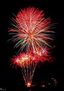 Image of fireworks going off many colurs
