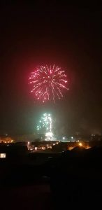 Image of firework display red bursting