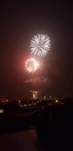 Image of fireworks going off taken from a house in Coxhoe