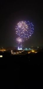 Image of blue fireworks going off