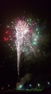 Image of firework display from a back garden