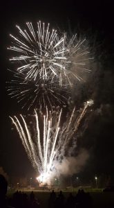 Image of white rockets firework display