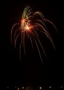 Image of fireworks going off spiderlike