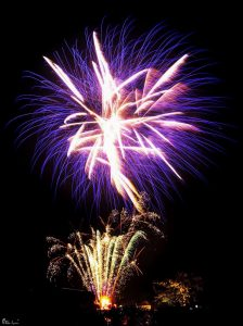 Image of fireworks going off blue and white