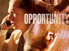Decorative photograph with a person on the telephone and the word Opportunity displayed prominently