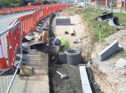 Photograph of drainage works in highway
