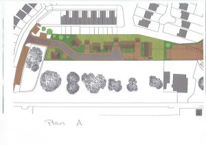 Photograph of plan showing a potential housing development