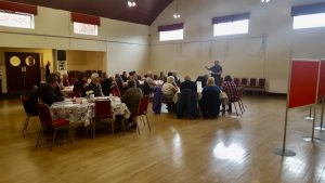 Photograph of the initial community engagement event in Coxhoe Village Hall