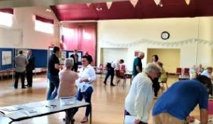 Photograph of people at the consultation event in Coxhoe Village hall