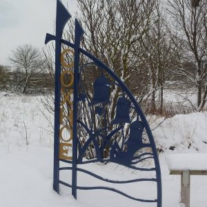Coxhoe Village entrance sign in winter about 2010