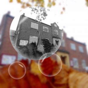 village hall with bubbles. Home of Coxhoe Parish council