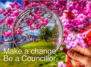 Photograph of Coxhoe under the spyglass with the words be a councillor