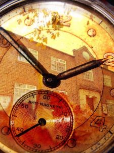 Image of village hall on clock face to promote our future meetings diary. The photo shows hands at ten to ten gives a very retro feel