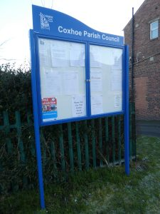 Photograph of Parish council notice board at Quarrington Hill when it was brand new