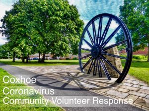 Photograph in HDR of pitwheel. The words Coxhoe Coronavirus Volunteer Response are overlaid on the photograph