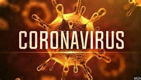 Image of the coronavirus. Included the words coronavirus across the whole photograph. Stock photograph March 2020