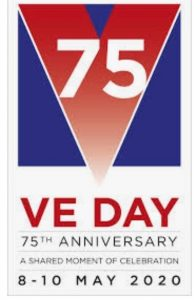 Image of VE day logo with the words &% VE Day 75th Anniversary