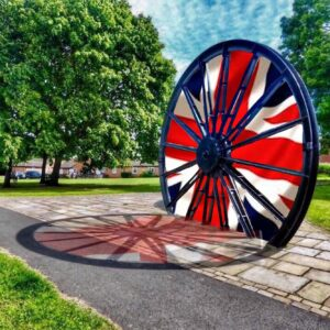 Photograph of Pit Wheel with Union Flag image stitched into spokes