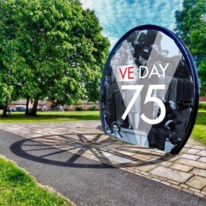 Photograph of the Pitwheel with a Ve Day 75 Image within the wheeel