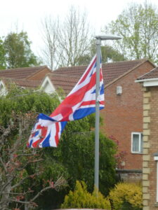 Flags out on lampost in Coxhoe