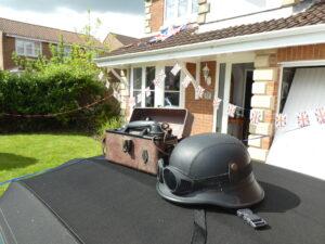 Field phone and german helmet