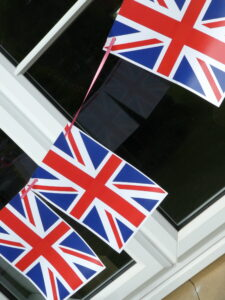 Photograph of more bunting outside window on angle