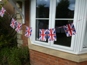 Photograph of bunting outside window