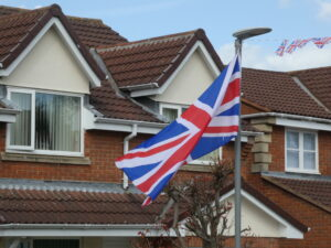 Photograph of flag flying in wind