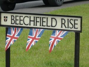 Photograph of Beechfield Rise streets sign with bunting
