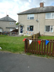 Photograph of bunting in streetscene
