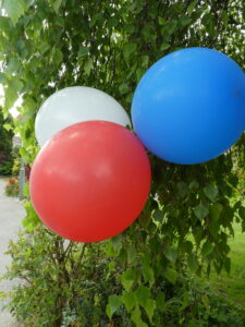 Photograph of blue red and white balloons with tree