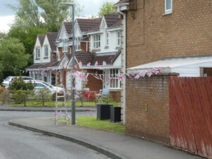 Photograph of Streetcene with flags